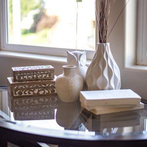 Interior Design Table, Books, Vase, Window
