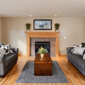 Living Room with Hardwood Floors and Fireplace, Coeur d'Alene Idaho