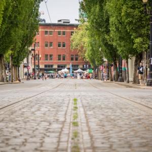 Portland Downtown Cobblestone Street