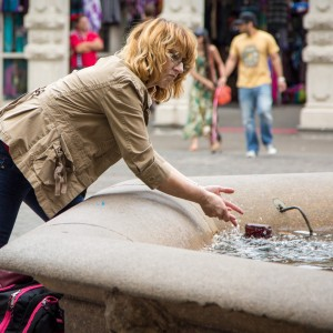 Portland Downtown Woman Washing Hands in Fountain